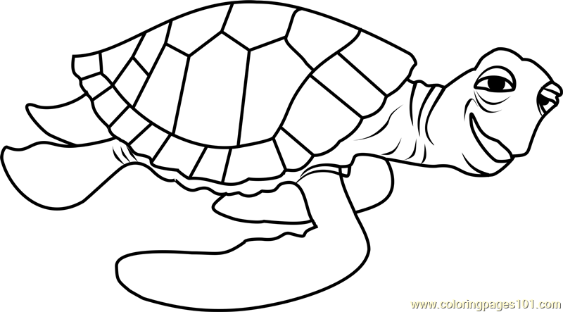 crush coloring page - Crush Finding Nemo Coloring Pages