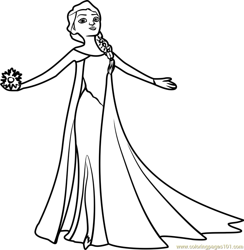 Beautiful Elsa Coloring Page