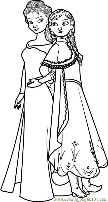 Elsa and Anna Coloring Page