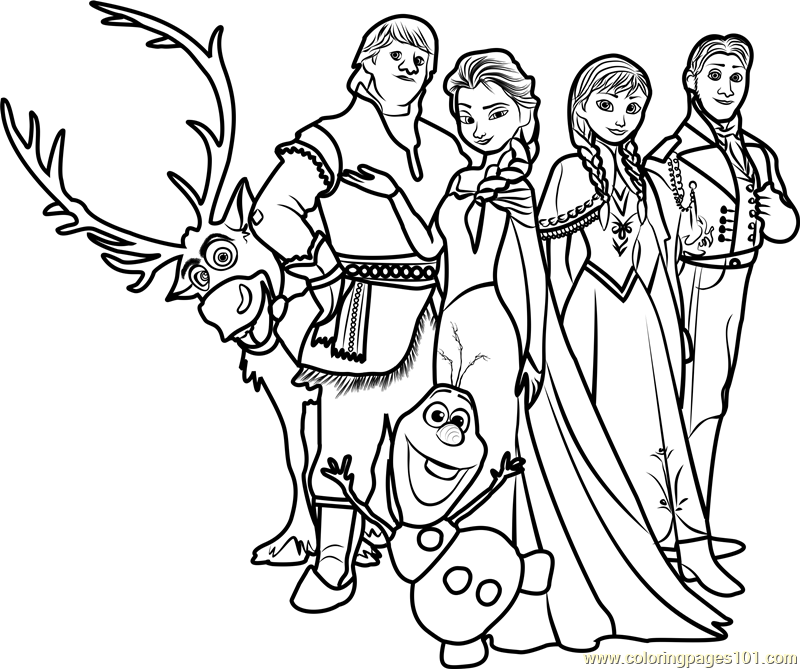 Frozen Family Coloring Page Free