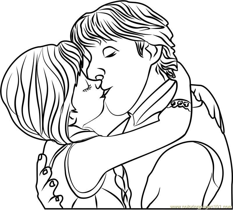Frozen Coloring Pages Anna And Kristoff Family : Kristoff and anna kiss coloring page free frozen