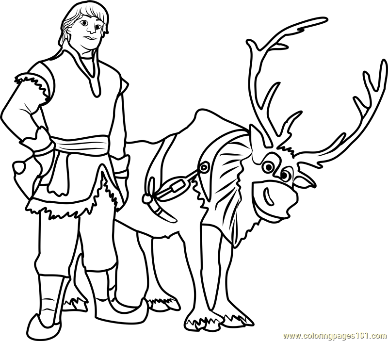 Kristoff with reindeer Coloring Page