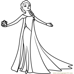 Beautiful Elsa Free Coloring Page for Kids
