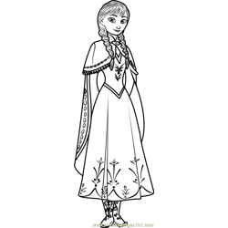 Cute Anna Free Coloring Page for Kids