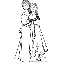 Elsa and Anna Free Coloring Page for Kids