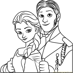 Elsa and Hans Free Coloring Page for Kids