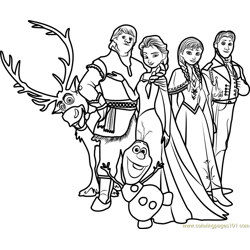 Frozen Family Free Coloring Page for Kids
