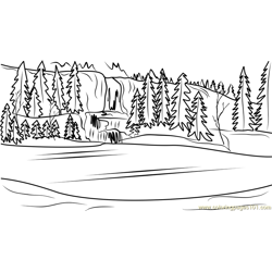 Frozen Scenery Free Coloring Page for Kids