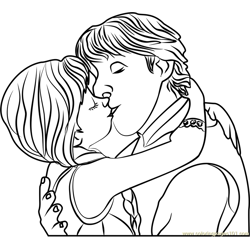Kristoff and Anna Kiss Free Coloring Page for Kids