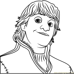 Kristoff face Free Coloring Page for Kids
