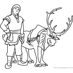 Kristoff with reindeer Free Coloring Page for Kids
