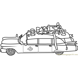 Ghostbusters Car Free Coloring Page for Kids