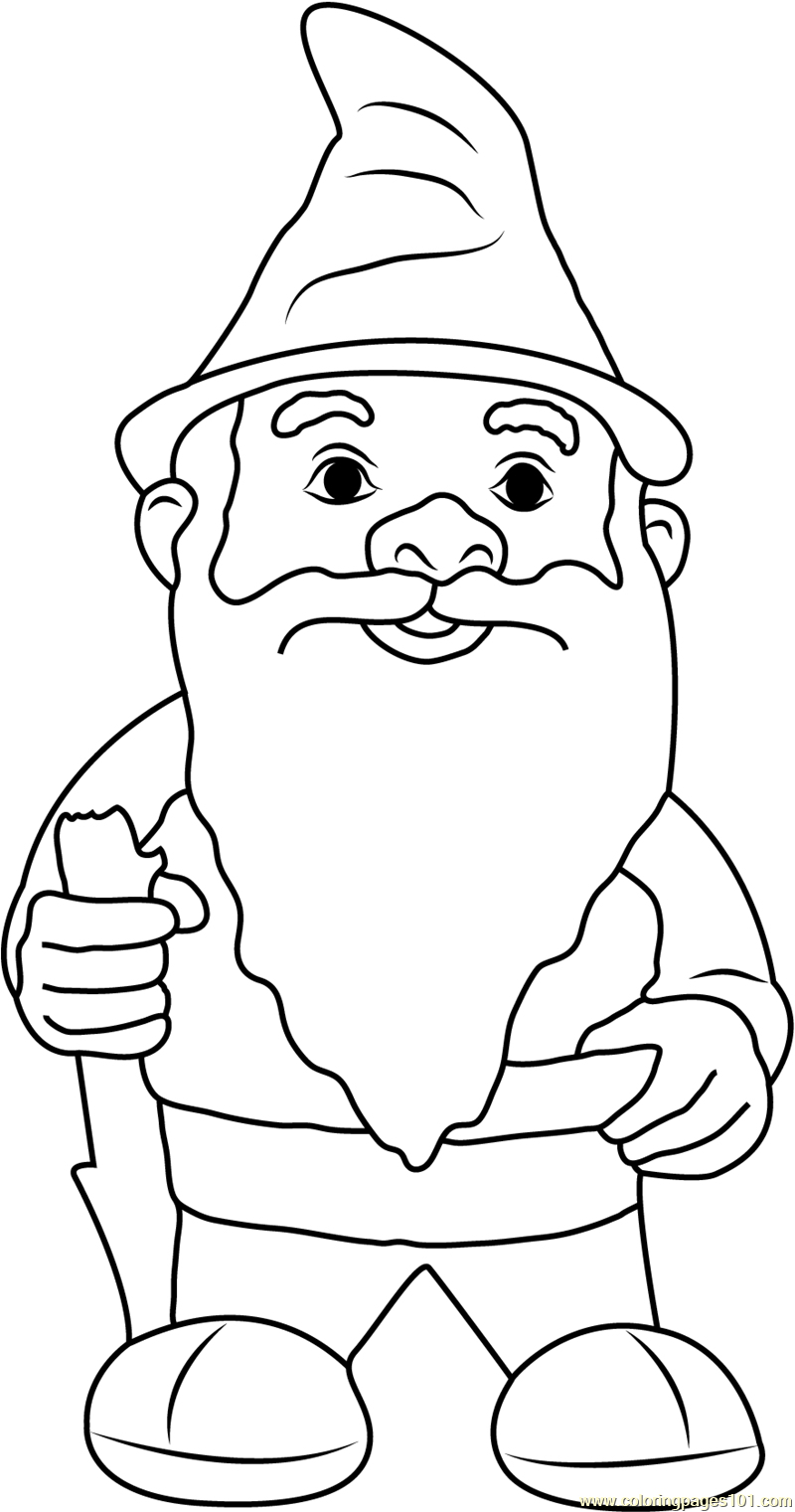 garden gnome with fluffy beard coloring page free gnomeo