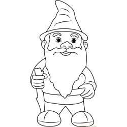 Garden Gnome with Fluffy Beard Free Coloring Page for Kids
