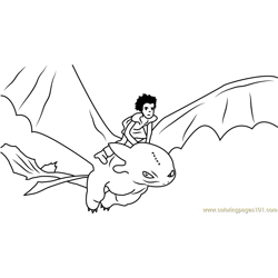 Hiccup Horrendous Flying with Toothless Free Coloring Page for Kids