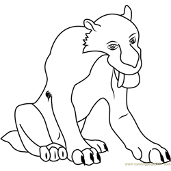 Diego Smilodon Free Coloring Page for Kids