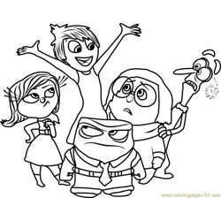 Inside Out Team Free Coloring Page for Kids