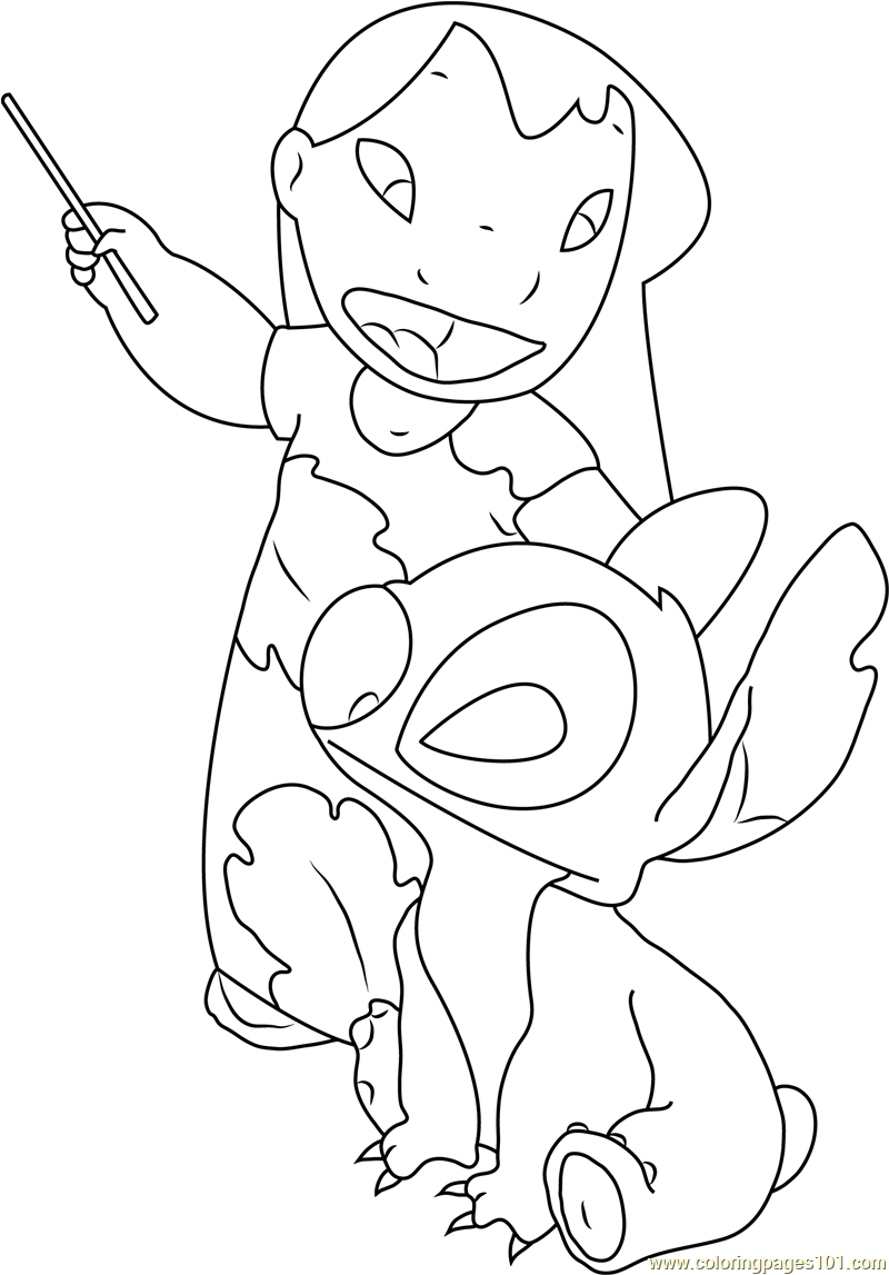 Cute Lilo and Stitch Coloring Page