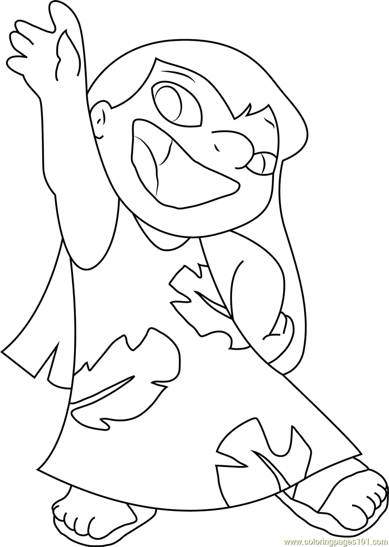 Happy Lilo Coloring Page - Free Lilo & Stitch Coloring Pages ...