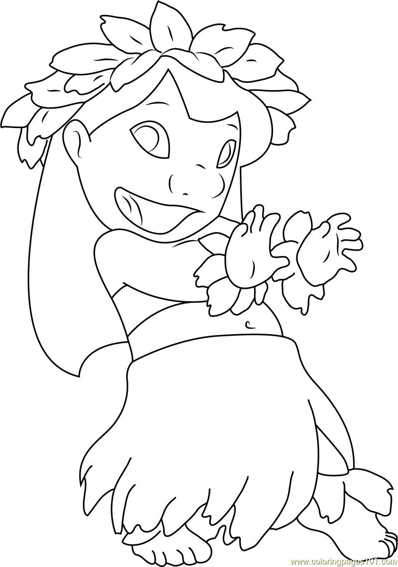 Lilo Dancing Coloring Page - Free Lilo & Stitch Coloring ...