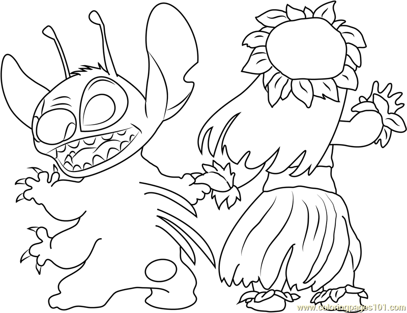 Stitch Looking Back Coloring Page