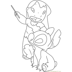 Cute Lilo and Stitch Free Coloring Page for Kids