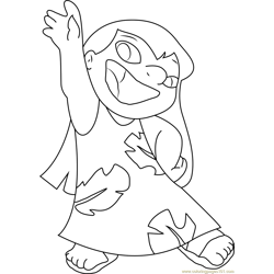 Happy Lilo Free Coloring Page for Kids