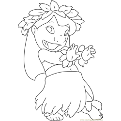 Lilo Dancing Free Coloring Page for Kids