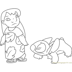 Lilo and Stitch Walking Together Free Coloring Page for Kids