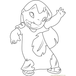 Lilo say Hi Free Coloring Page for Kids