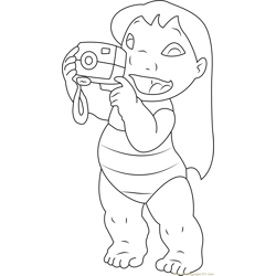 Lilo with Camera Free Coloring Page for Kids