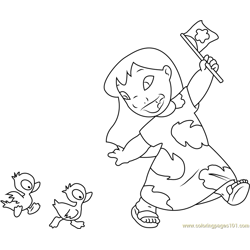 Lilo with Ducks Free Coloring Page for Kids