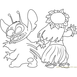 Stitch Looking Back Free Coloring Page for Kids