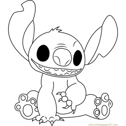Stitch Smiling Free Coloring Page for Kids