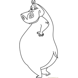 Gloria the Hippo Free Coloring Page for Kids