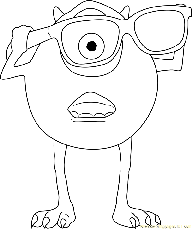 Mike Wear Sunglasses Coloring Page Free Monsters Inc Coloring