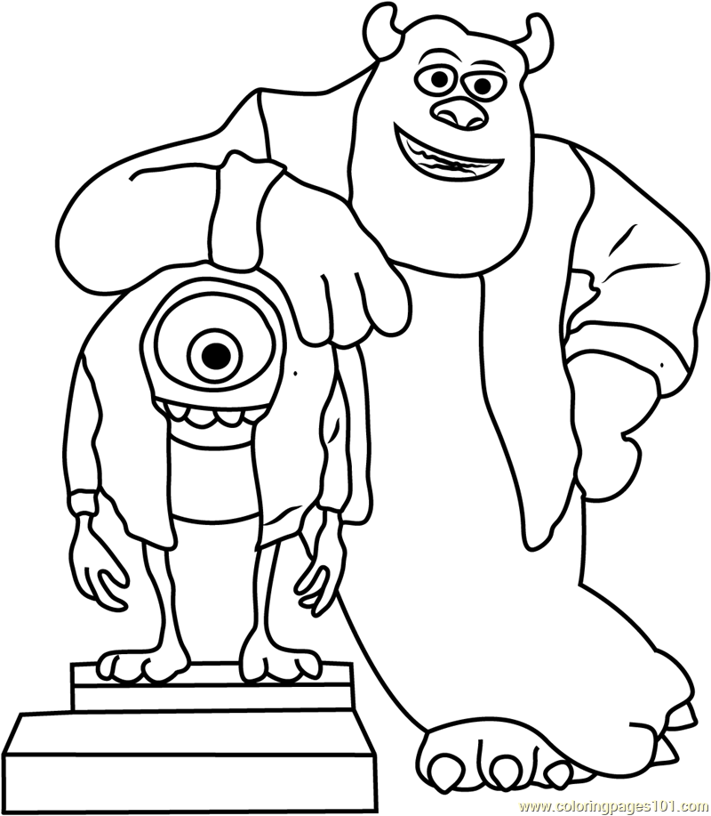 Mike and Sullivan Say Cheez Coloring Page
