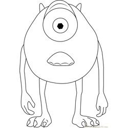 Michael, a Green Monster Free Coloring Page for Kids