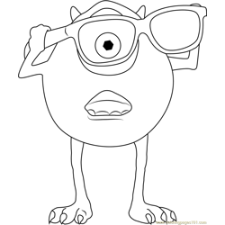 Mike Wear Sunglasses Free Coloring Page for Kids