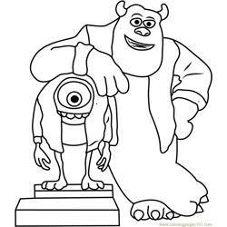 Mike and Sullivan Say Cheez Free Coloring Page for Kids