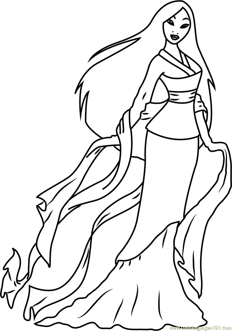 Cute Mulan Coloring Page Free Mulan Coloring Pages