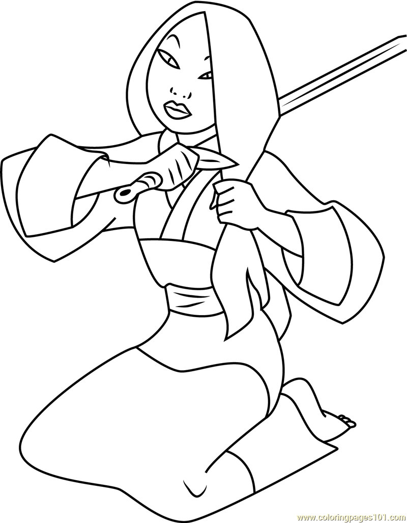 Mulan Cuts Hair with Sword Coloring