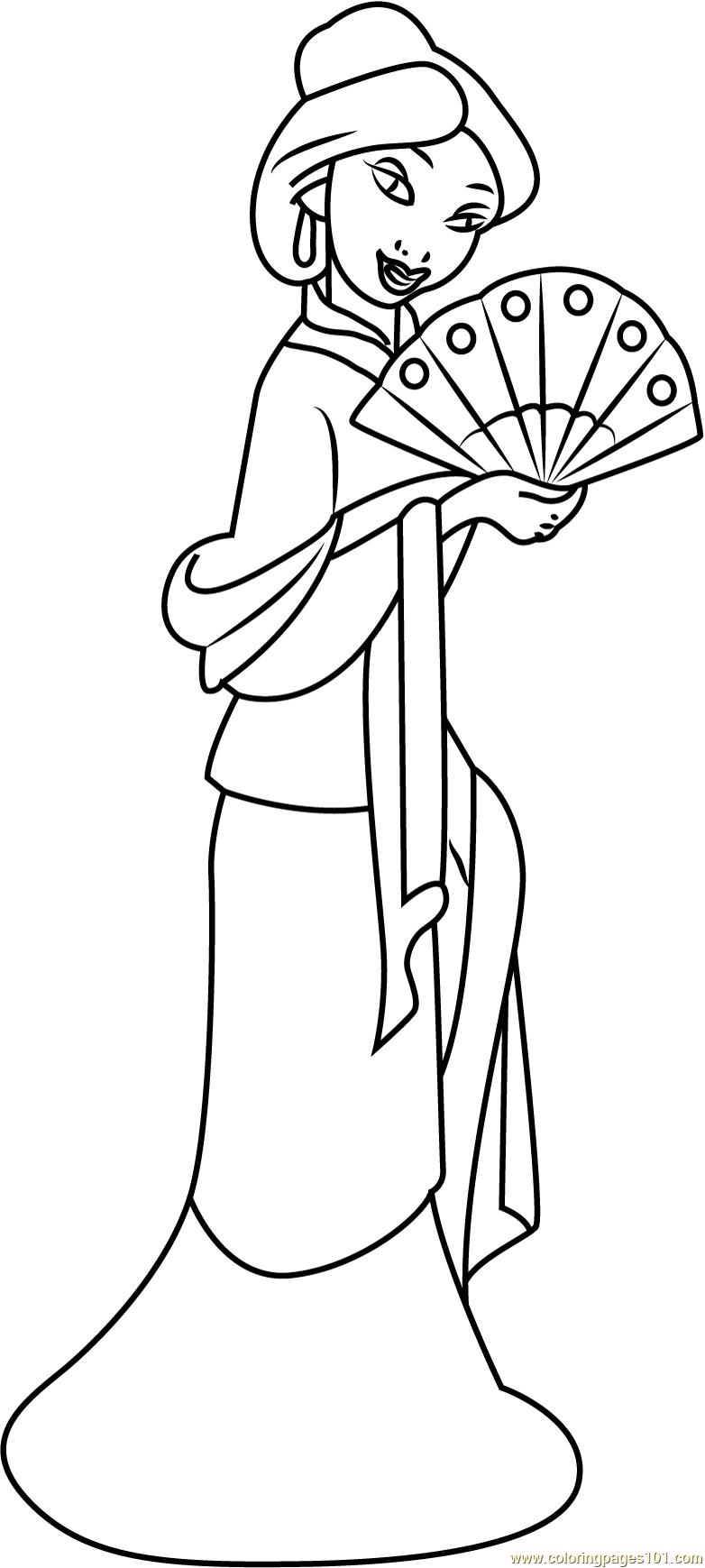 Mulan With Hand Fan Coloring Page