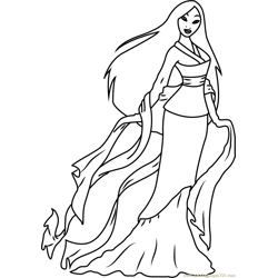 Cute Mulan Free Coloring Page for Kids
