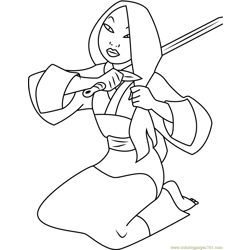 Mulan Cuts Hair with Sword Free Coloring Page for Kids