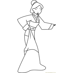 Mulan Show her Dress Free Coloring Page for Kids