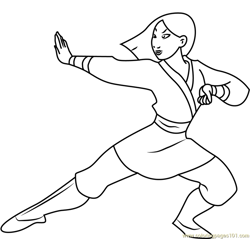 Mulan as Warrior Free Coloring Page for Kids