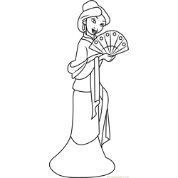 Mulan with Hand Fan Free Coloring Page for Kids
