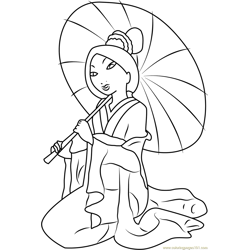 Mulan with Umbrella Free Coloring Page for Kids