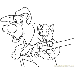 Oliver and Dodger are Afraid Free Coloring Page for Kids